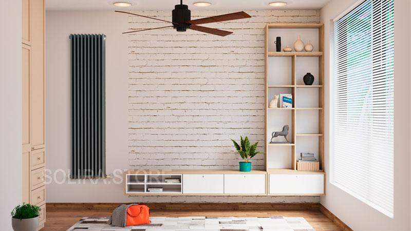Вертикальный трубчатый радиатор SOLIRA 3180 - 10 секций, в интерьере квартиры, цвет антрацит (RAL7016 глянец)