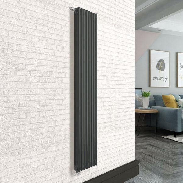 Вертикальный радиатор SOLIRA 3200/8 Черный текстурный